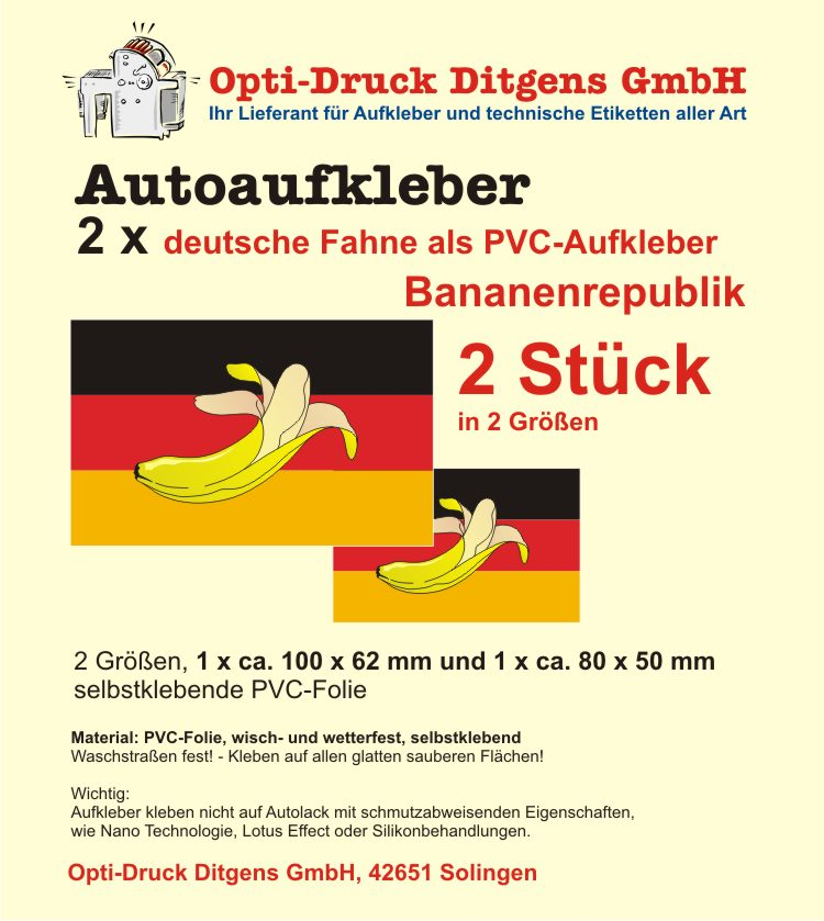 2 Aufkleber Deutschland Bananenrepublik Germany Autoaufkleber ...