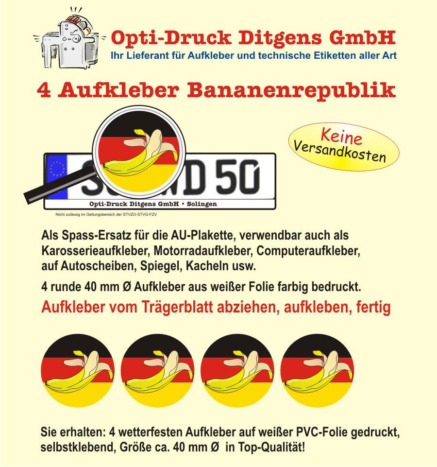 4 x Nummernschild Aufkleber Deutschland Bananenrepublik Germany AU ...