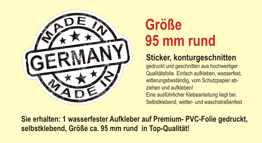 made in germany deutschland auto aufkleber shocker sticker. Black Bedroom Furniture Sets. Home Design Ideas